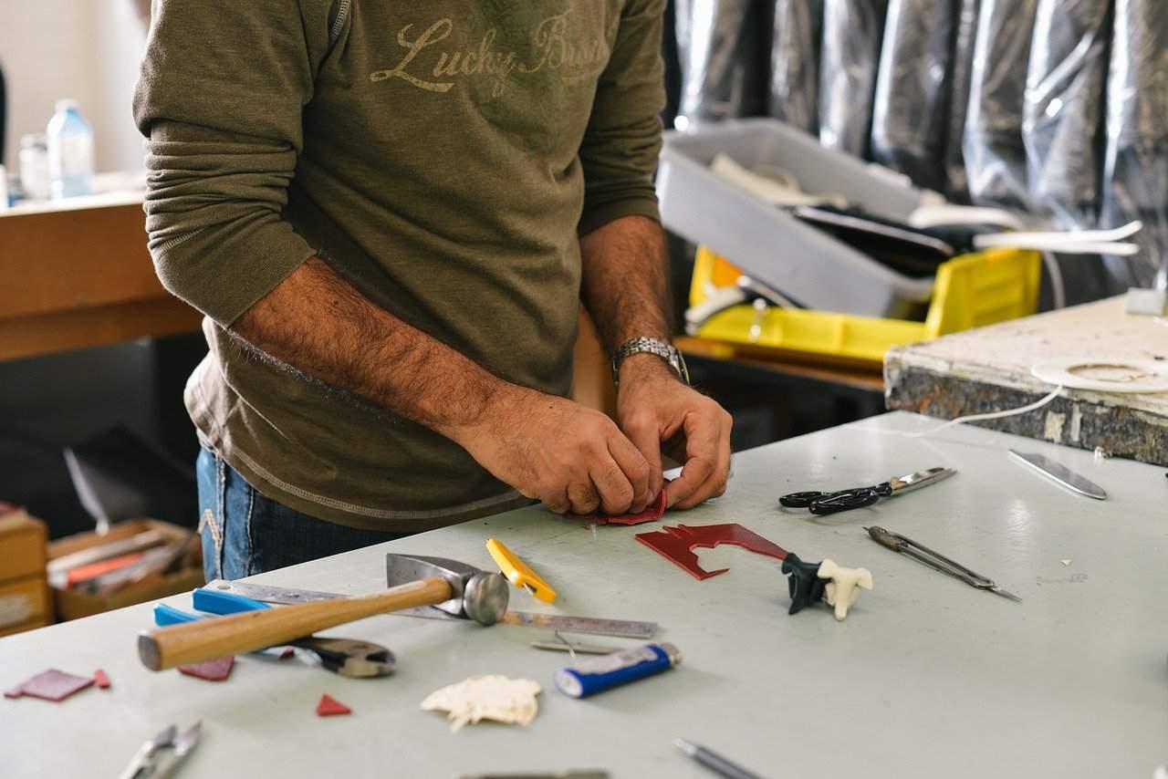 man DIY repair garage